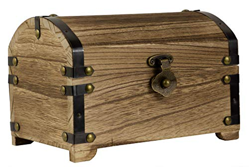 CoreDP Decorative Vintage Wood Treasure Chest, 8.3x5.5x5.5 inches with 90 Degree hinged lid, Old-Fashioned Design, Metal Outline and Buckle [Keepsake Box/Jewelry Box/Toy Treasure Chest] ()