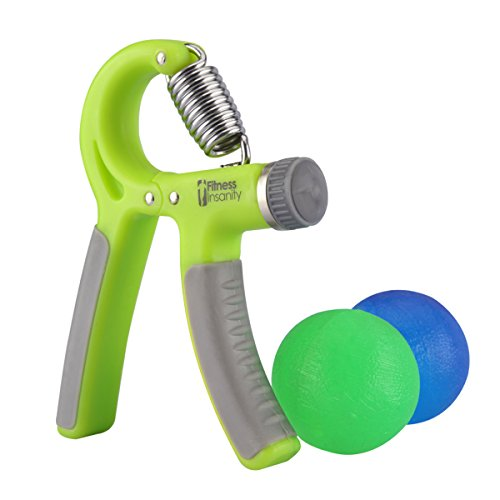 (Hand Grip Strength Trainer Kit with 2 Hand Therapy Ball - Adjustable Resistance 22 to 88 Lbs - Non-Slip Gripper - Strengthening Exercises - Relieve Stress and Anxiety (Green Color))