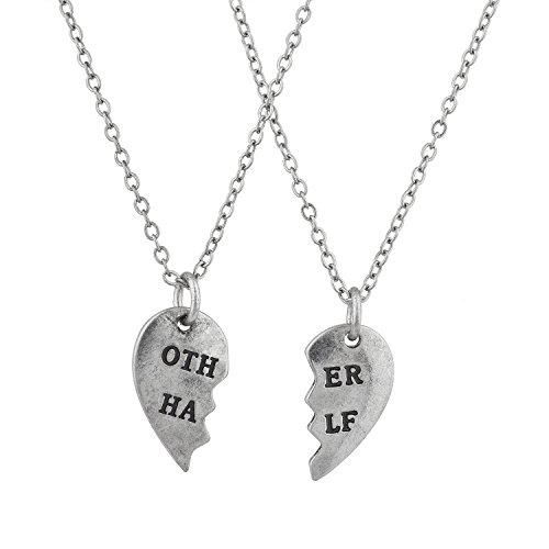 - Lux Accessories Silver Tone You are My Other Half BFF Best Friends Forever Matching Necklace Set of 2