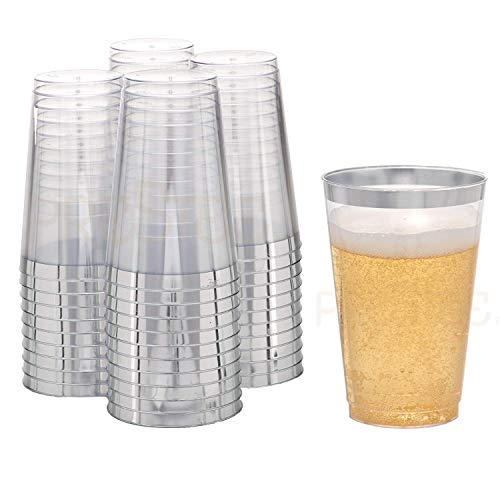 DRINKET Silver Plastic Cups 14 oz Clear Plastic Cups | Tumblers Fancy Plastic Wedding Cups With Silver Rim 50 Ct Disposable For Party Holiday and Occasions