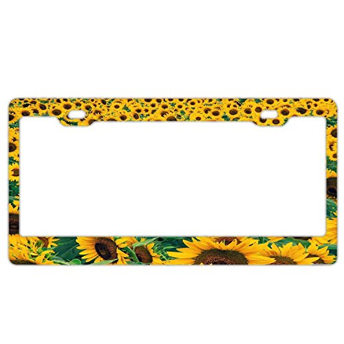 Sunflowers License Plate Frame, Women License Plate Holder, Stainless Steel Metal License Plate Frame, Auto Car for US Standard