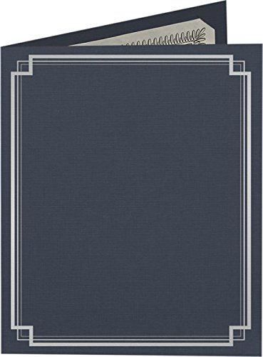 9 1/2 x 12 Certificate Holders - Dark Blue Linen - Silver Foil Square Border (25 Qty.) | Perfect for Award Recognition, Certificates, Documents and More! | CHEL-185-DDBLU100-SQSF-25