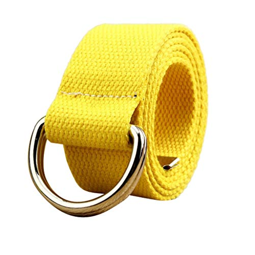 (Toimothcn Canvas Web Double D Ring Belt Silver Buckle Military Style for Men & Women (Yellow,120))