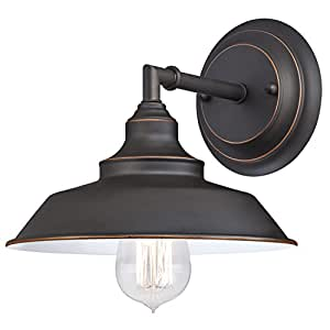 Westinghouse 6343500 Iron Hill One-Light Indoor Wall Fixture, Oil Rubbed Bronze Finish with Highlights and Metal Shade