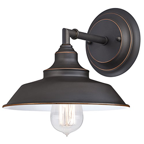 Westinghouse Lighting 6343500 Indoor Wall Fixture, 1-Light Sconce, Oil Rubbed Bronze/White ()