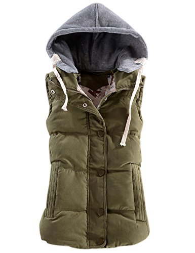 (Yeokou Women's Slim Sleeveless Quilted Removable Hooded Winter Puffer Vest Coat Army Green)