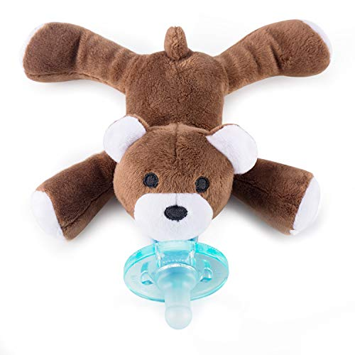(Baby Pacifier Holder Detachable Binky Plush Stuffed Animal Toy BPA Free for Newborn Boy Girl + Soothie Case + Gift Box)