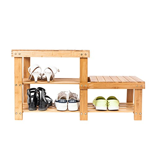 Bonnlo 100% 2 Tiers Natural Bamboo Shoe Bench Shoe Rack Organizer Entryway Storage Shelf 34.3 x 11 x 17.9 L x W x H for Closet Bathroom Bedroom Balcony (Bench Wooden Storage Natural All)