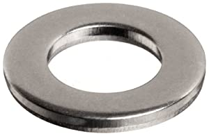 18-8 Stainless Steel Flat Washer, Plain Finish, Meets DIN 125, M4 Hole Size, 4.3mm ID, 9mm OD, 0.8mm Nominal Thickness (Pack of 100)