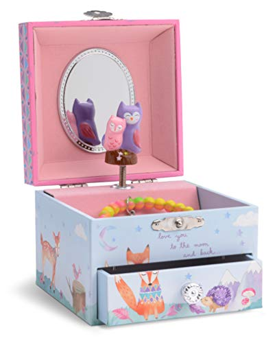 Jewelkeeper Musical Jewelry Box with Spinning Owls, Woodland Design with Pullout Drawer, Twinkle Twinkle Little Star Tune (Baby Owl Jewelry)