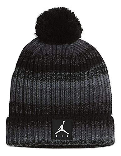 - Nike Big Boys Pom Ombre Knit Beanie Hat (One Size, Black/Grey)
