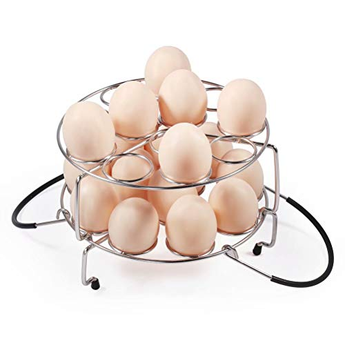 Newness Egg Steamer Rack [Max Capacity 24 Eggs] 304 Stainless Steel Egg Rack Trivet for 6,8 Quart, Multipurpose Stackable Pressure Cooker Egg Rack Accessories with Heat Resistant Handle