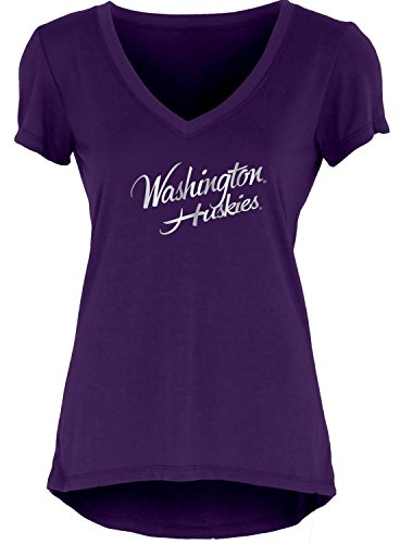 Blue 84 NCAA Washington Huskies Women's Liquid Jersey V-Neck, Purple, ()