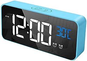 CHEREEKI Réveil Numérique, Horloge Numérique LED Horloge Digitale Réveil avec Température/Snooze/ 2 Alarme/12/24...