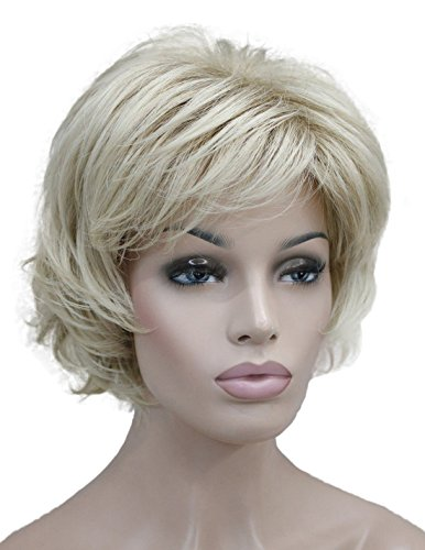 Wiginway Short Blonde Wig for Women Layered Shaggy Haircut Full Synthetic Wig Fashion Daily Wear Formal Party Wig 6 Inch