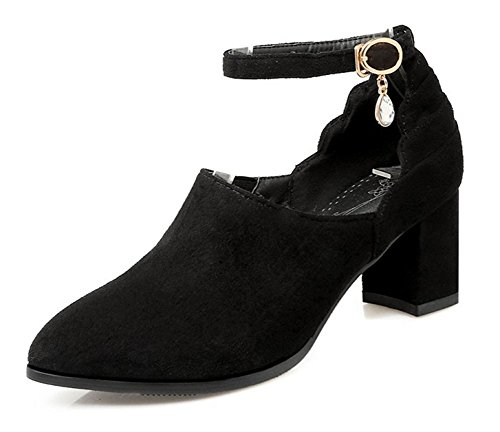 Easemax Womens Pendants Faux Suede Mid Chunky Heel Pointed Toe Ankle Buckle Strap Stylish Mid Top Pumps Shoes Black