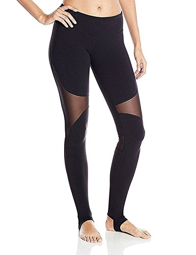 DeepTwist Womens Yoga Pants Mesh Active Full Length Barre Stirrup Leggings Black, (Over Mesh)