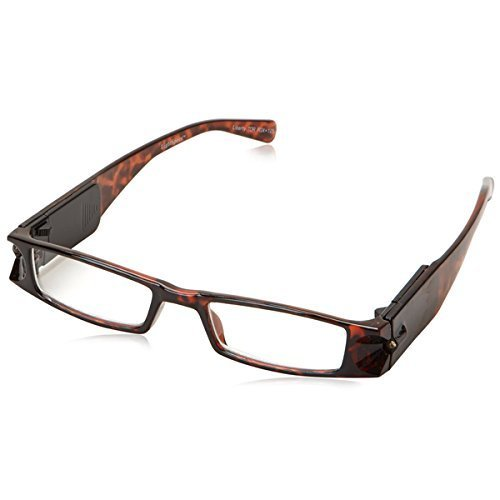 +5.0 Diopter Eschenbach LightSpecs LED Lighted Reading Glasses - Tortise - Liberty