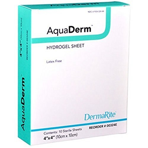 Amerigel Wound Dressing - DermaRite 00324E AquaDerm Hydrogel Sheet, 10 Individually Packed Dressings
