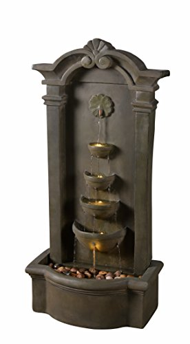 Kenroy Home 51021MS Cathedral Indoor/Outdoor Floor Fountain, 44 Inch Height, Moss Stone - DIMENSIONS: 44 inch Height, 20 inch width, 12 inch Extension LED LIGHTS: Outfitted with energy efficient and long-lasting LED bulbs perfect for creating shimmering water effects WATERPROOF LIGHT SWITCH: Using separate power solutions for both the pump and light kit allows for the independent  operation  of the pump and light - patio, outdoor-decor, fountains - 412XL0E pxL -