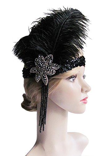 Roaring 20's Sequined Showgirl Flapper Great Gatsby Headband Black with Feather Plume(B-balck)