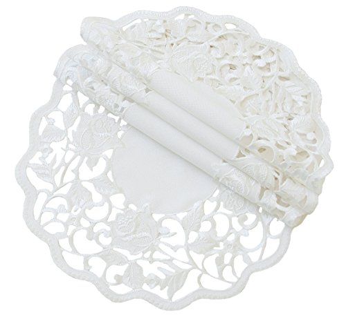 Xia Home Fashions Somerset Embroidered Cutwork Floral Doilies, 12-Inch Round, White, Set of 4 by Xia Home Fashions (Image #2)