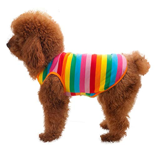 Rainbow Stripe Dog Shirt Tank Top, Pet Clothes Vest Puppy T-Shirt Outfit Apparel for Small Dog or Cat