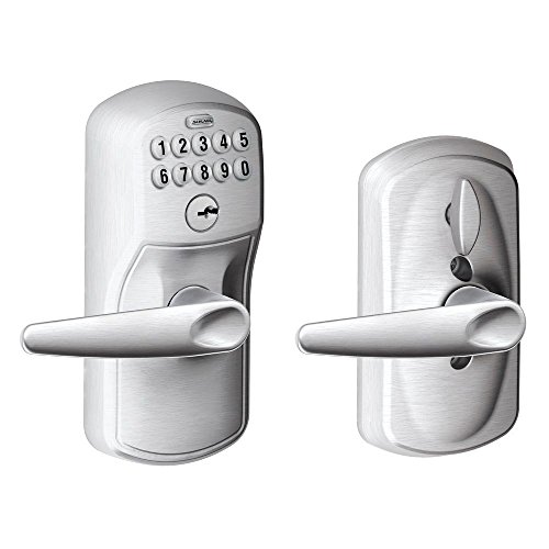 Schlage FE595 PLY 626 JAZ Plymouth Keypad Entry with Flex-Lock and Jazz Style Levers, Brushed Chrome Schlage