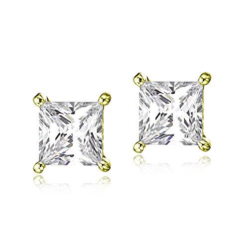 Steel Princess Cut Stud Earrings 5MM (Gold) - 7