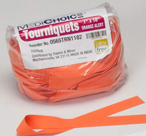 MediChoice Textured Premium Tourniquet, Rolled and Banded, 1 x 18 Inch, Orange, 1314TRN1182 (Box of 250)