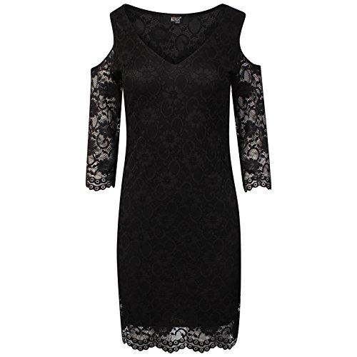 Kiah Des Femmes De Robe Crochet Dentelle Dames Épaule Coupé Dames Sexy Mini Robe Noire 8-16