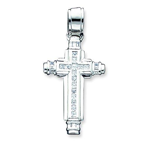 Argent Sterling CZ pendentif croix-JewelryWeb
