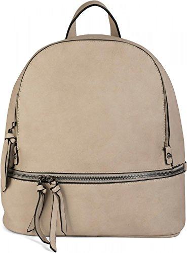 styleBREAKER Kunstleder Rucksack Handtasche mit Reißverschlüssen, edler Style, Tasche, Unisex 02012147, Farbe:Rot Beige