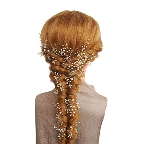 Azaleas Freshwater Pearl Crystal Wedding Headband Hair Vine with Ribbons -