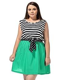 Allegra K Allegra K Ladies Plus Size Sleeveless Striped Mini Tank Dress