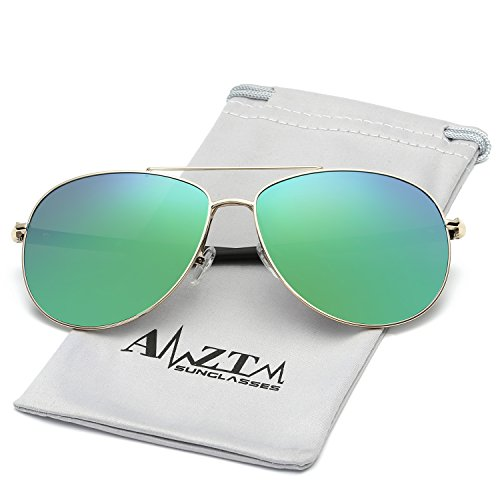 AMZTM Classic Double Bridge Shades Fashion Polarized Aviator Sunglasses For Men TR90 Legs Metal Frame Flash Mirror REVO Lens Driving Glasses (Golden Frame Blue Green Lens, - Sunglasses Golden Aviator