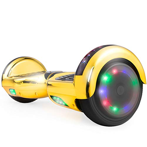 WorryFree Gadgets UL2272 Certified Hoverboard 6.5' Smart Self Balancing Electric Scooter Personal Adult Transporter Hover Board with LED Lights (Chrome Gold)