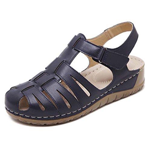 Zapatos de mujer Nueva Sandalias Femeninas Ocasionales Pendiente Roman Moms Zapatos Ligero Cómodo Zapatos de Gran Tamaño Black