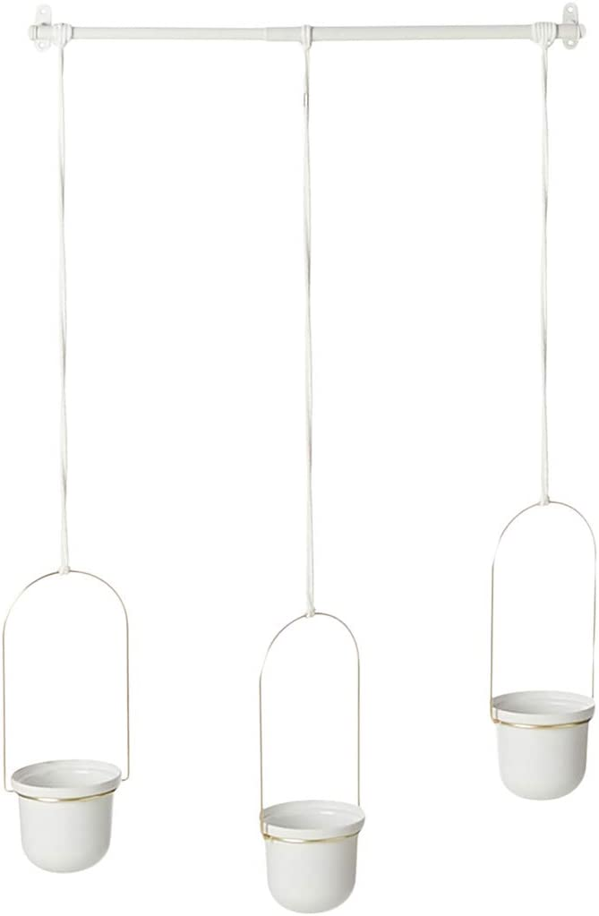 Umbra 1011748-524 Triflora Hanging Planters for Indoor Plants or Herbs, White/Brass,42