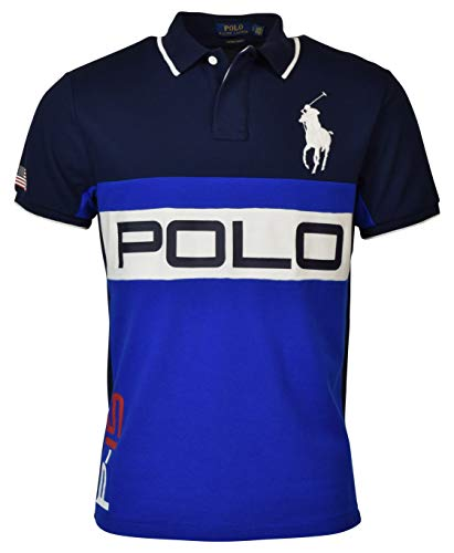 Polo Ralph Lauren Men's Custom Slim Fit Big Pony Polo Shirt, Blue (L)