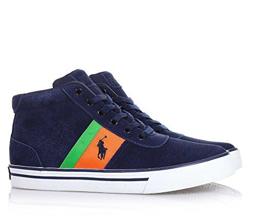POLO RALPH LAUREN - Chaussure à lacets bleue en suède, avec des pièces latérales colorées en tissu, logo latéral et semelle en caoutchouc, garçon, garçons