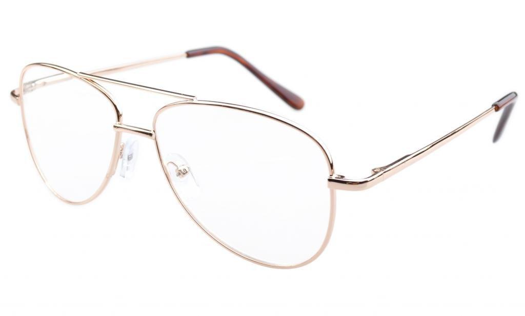 Eyekepper Pilot Style Metal Frame Spring Hinges Eyeglasses Gold by Eyekepper
