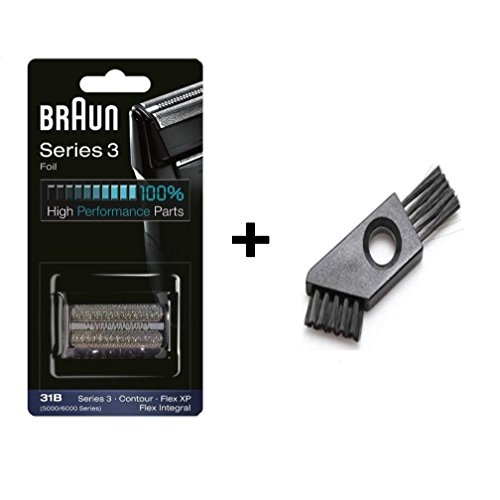 31B Shaving Heads Series 3 5000/5000 Series Contour Shaver Replacement Foil and Cutter Cassette Cartridge 5414 5610 5612 5877 5775 5770 with Cleaning Brush (31B) (Braun Series 3 31b Foil And Cutter)