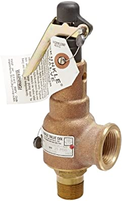 "Kunkle 6010EDE01-AM0025 Bronze ASME Safety Relief Valve for Steam, EPR Soft Seat, 25 Preset Pressure, 3/4"" NPT Male Inlet x 1"" NPT Female Outlet by Tyco Valves & Controls"