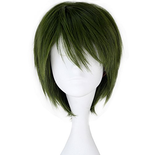 Miss U Hair Men's Synthetic Short Straight Dark Green Anime Cosplay Full Wig C151