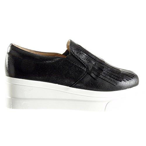 Angkorly - damen Schuhe Mokassin - Slip-On - Plateauschuhe - Franse - Patent Keilabsatz high heel 5.5 CM - Schwarz