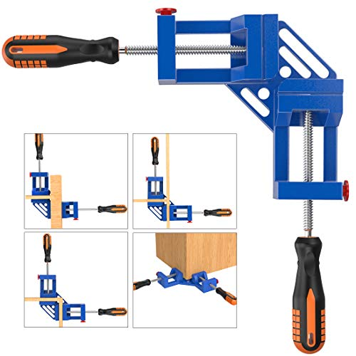 Right Angle Clamp, Housolution Single Handle 90° Aluminum Alloy Corner Clamp, Right Angle Clip Clamp Tool Woodworking Photo Frame Vise Holder with Adjustable Swing Jaw (Double Handle, 11-Blue)
