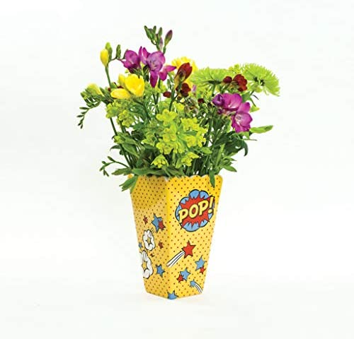Made By Humans Pop Art Vase, Unique Ceramic Flower Container, Decorative Home Decor Accent for Arranging Bouquets, Table Top Centerpiece – Pop, Yellow