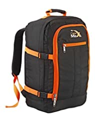 """Cabin Max Metz Backpack Flight Approved Carry on Bag Travel Hand Luggage- 22x16x8"""" (Black/ Orange)"""