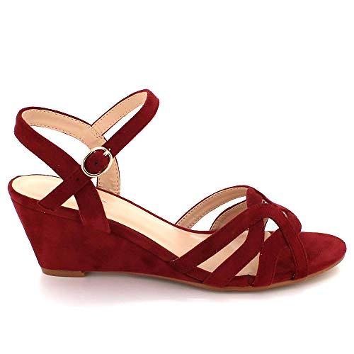 Sandales Ouvert Des Talon Décontractée De Cheville Bourgogne Boucle Compensé Bout Fixation Femmes Taille Moyen Dames Chaussures Sangle qEwn7xxOF